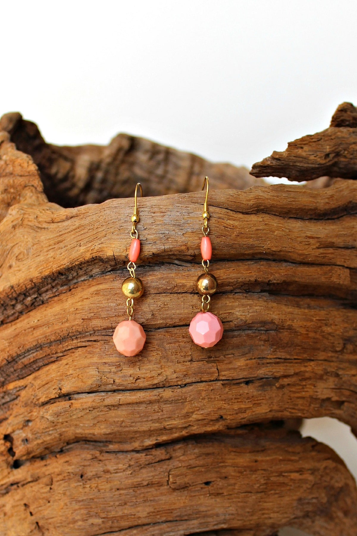 Beaded Drop Earrings, Coral