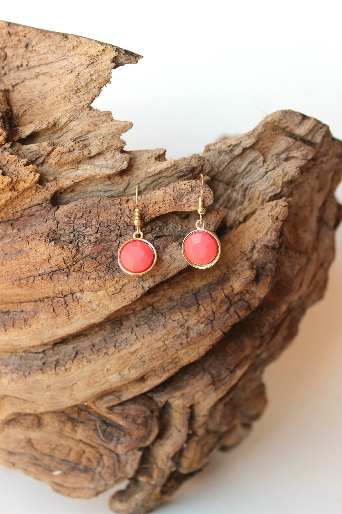 Round Faceted Earrings, Coral