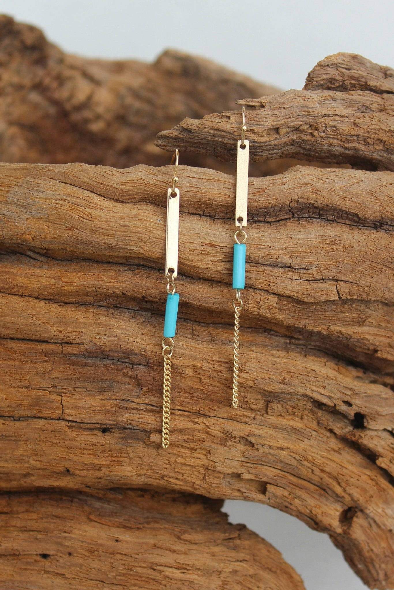 Bar and Chain Earrings, Turquoise