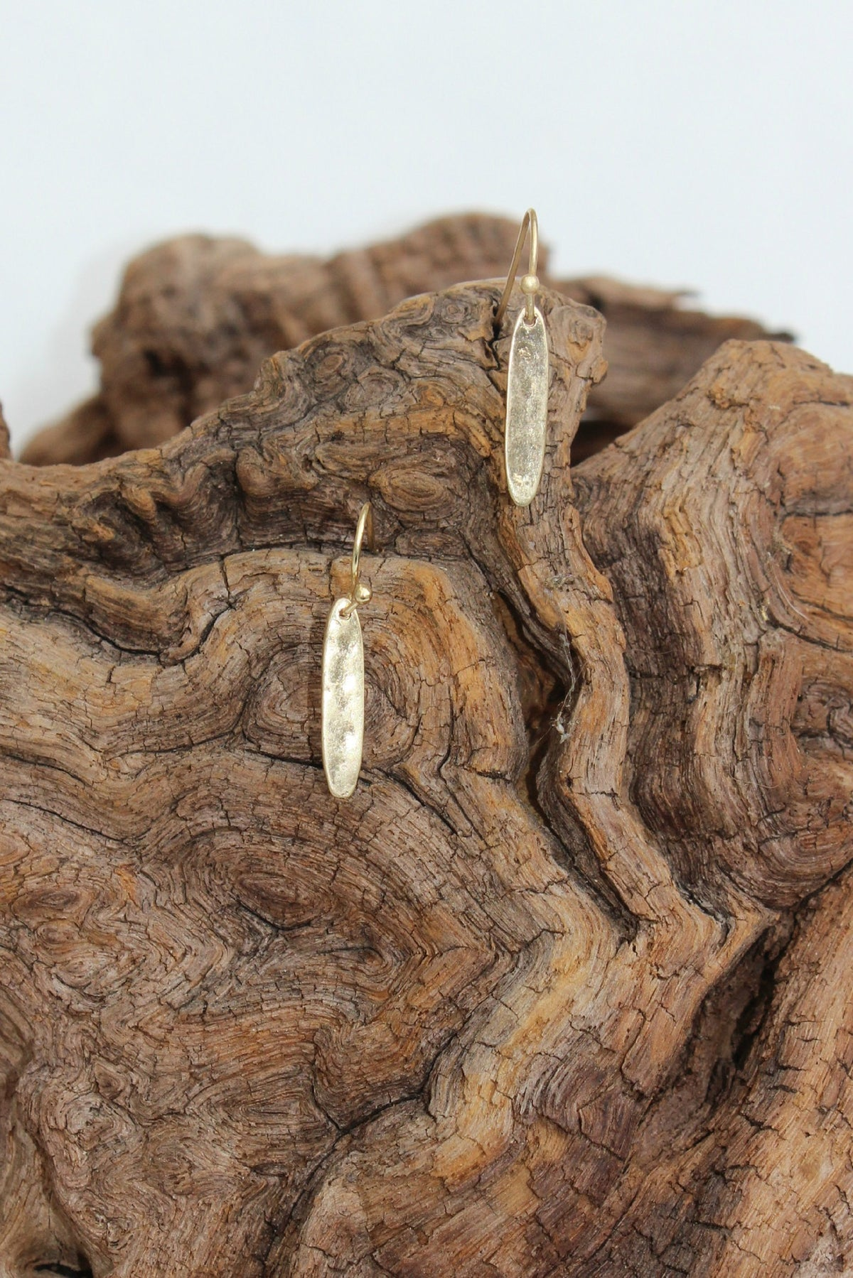 Elongated Oval Metal Earrings, Gold