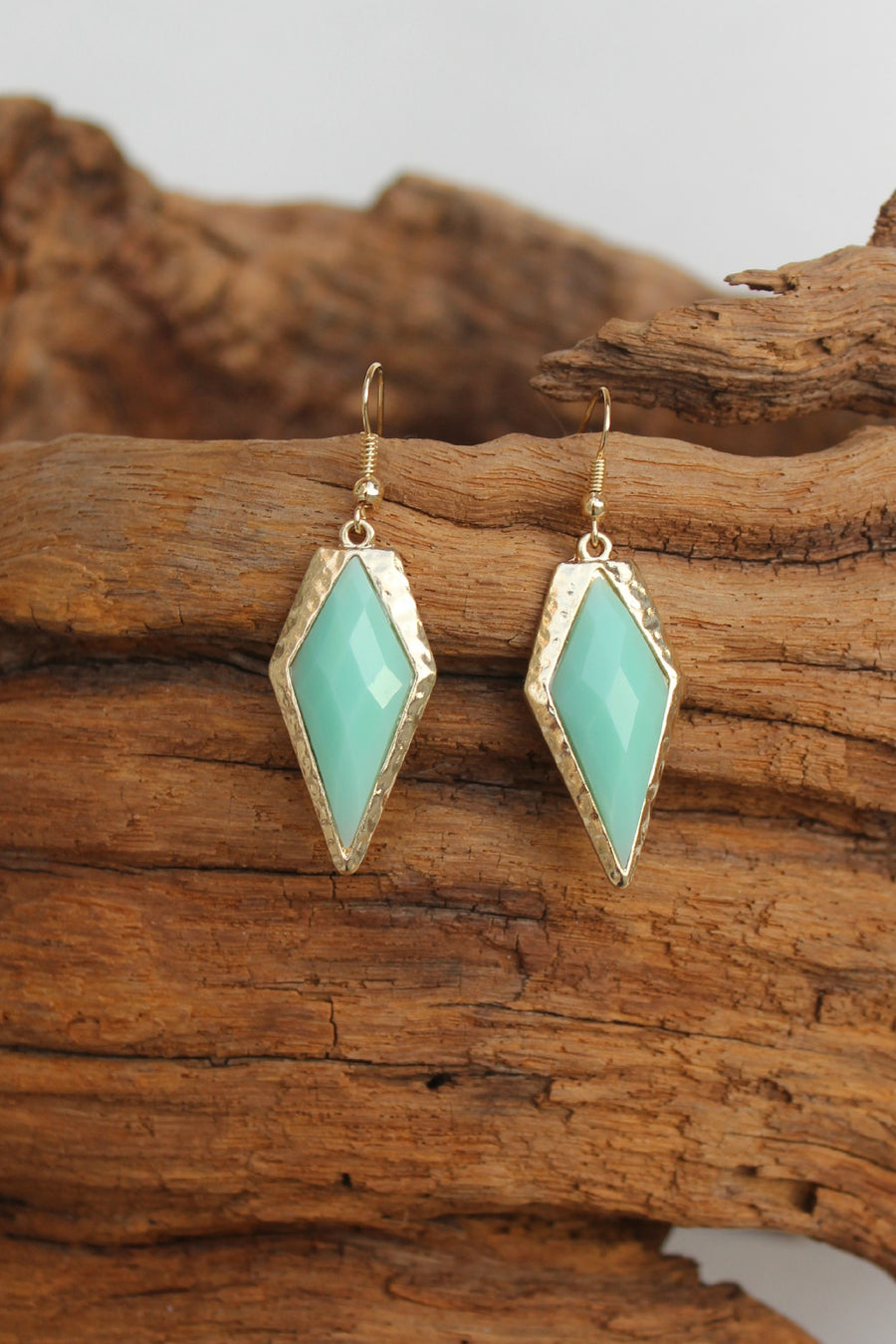 Faceted Kite Earrings, Mint