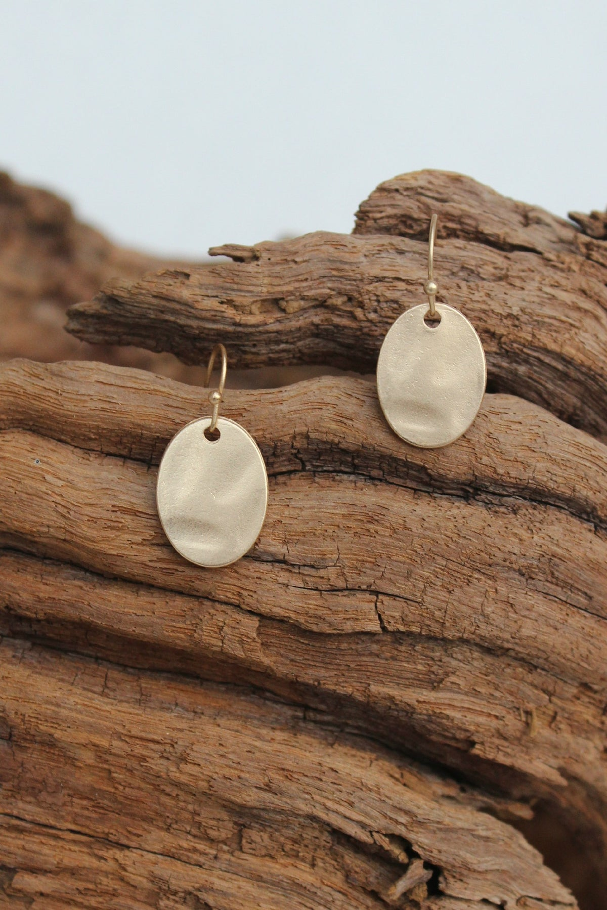 Soft Hammered Oval Earrings, Gold