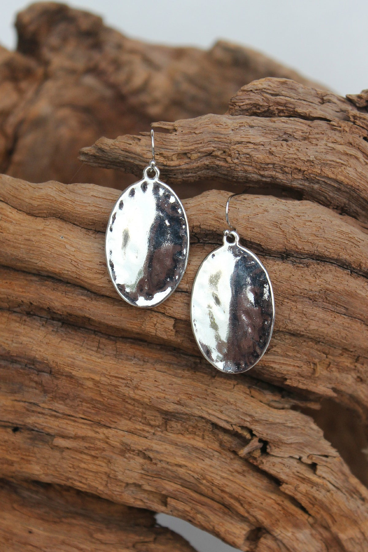 Hammered Oval Earrings, Silver