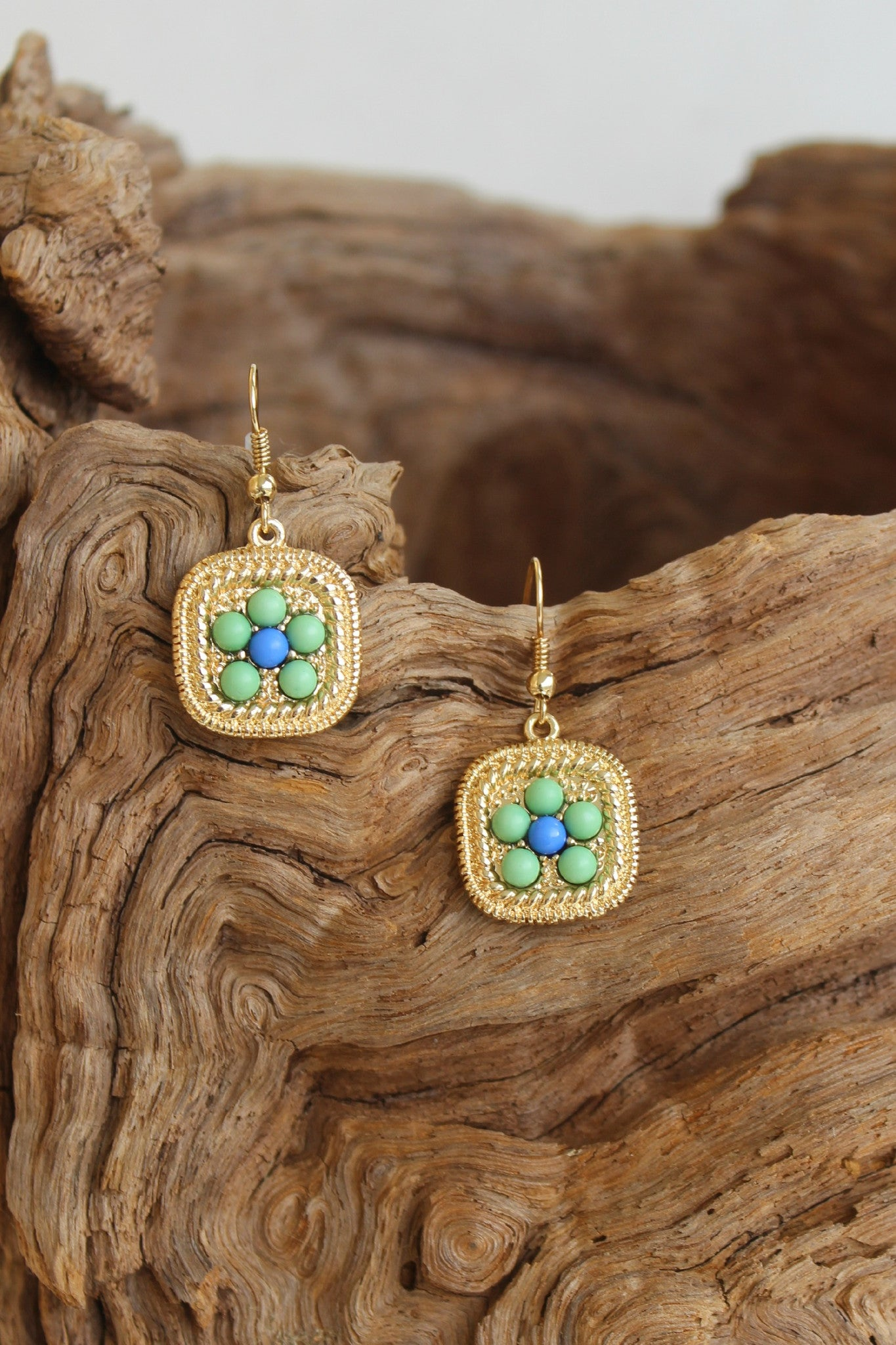 Beaded and Embossed Square Earrings, Multi