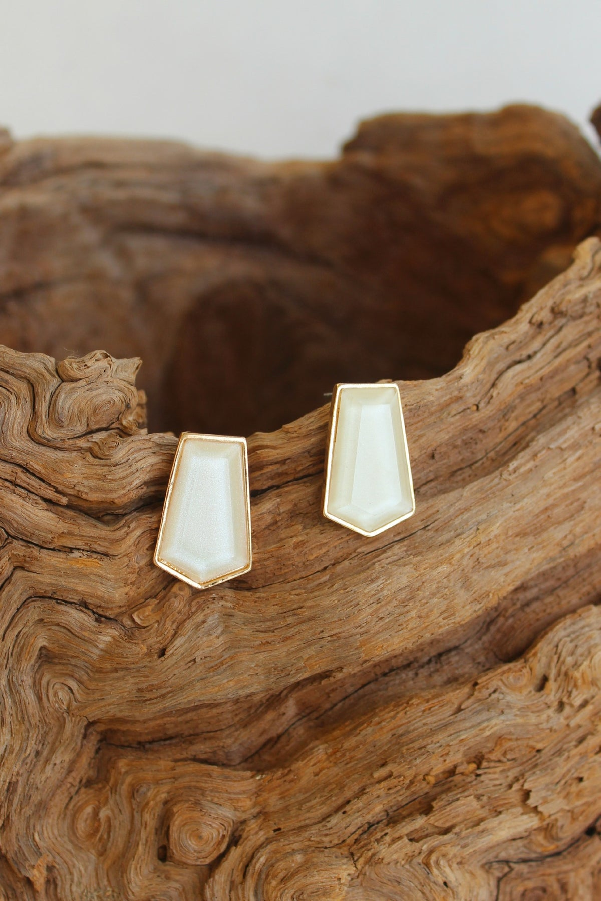 Pentagon Teardrop Earrings, Ivory