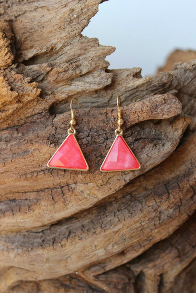 Faceted Triangle Earrings, Coral