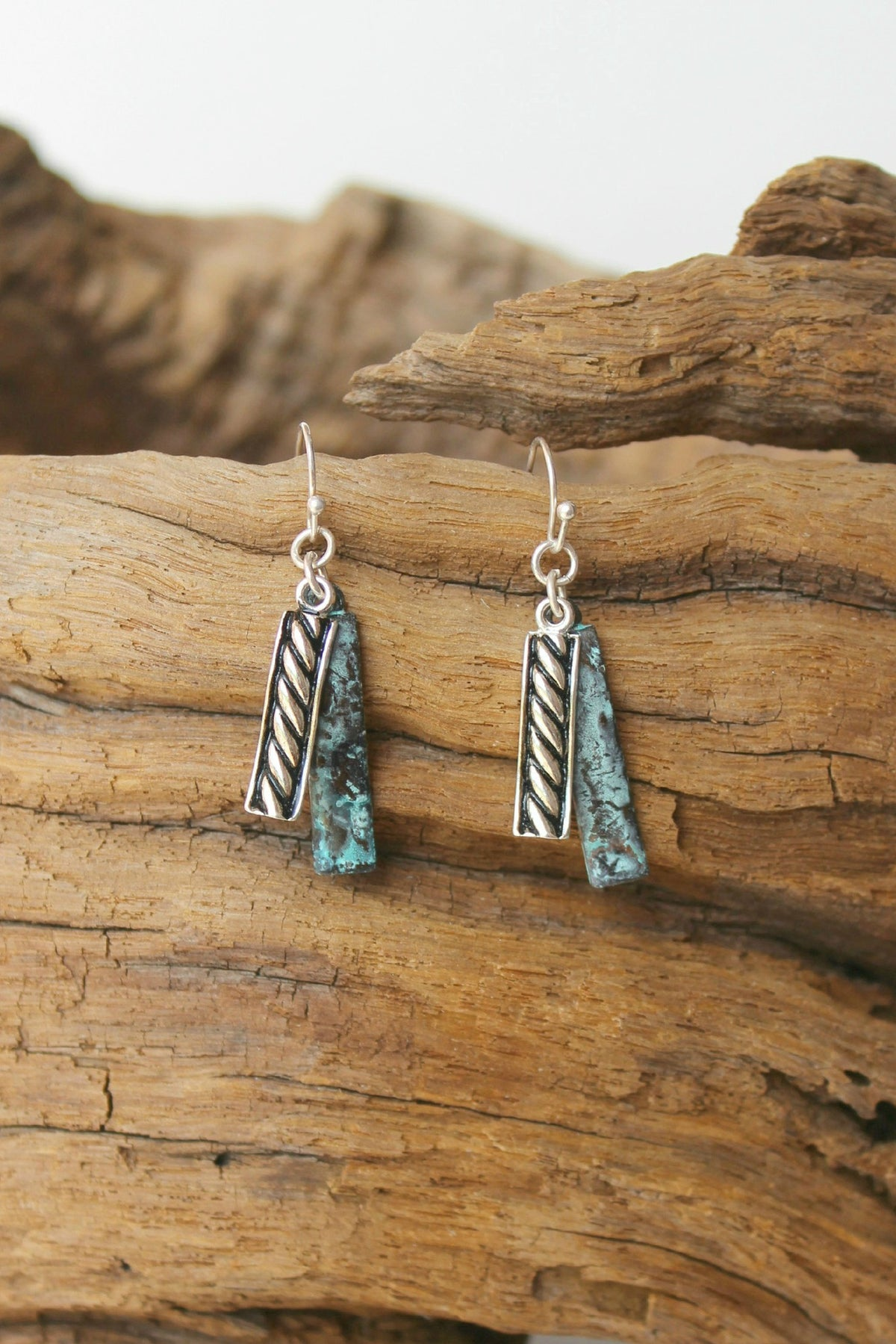 Metal Bar Earrings, Turquoise