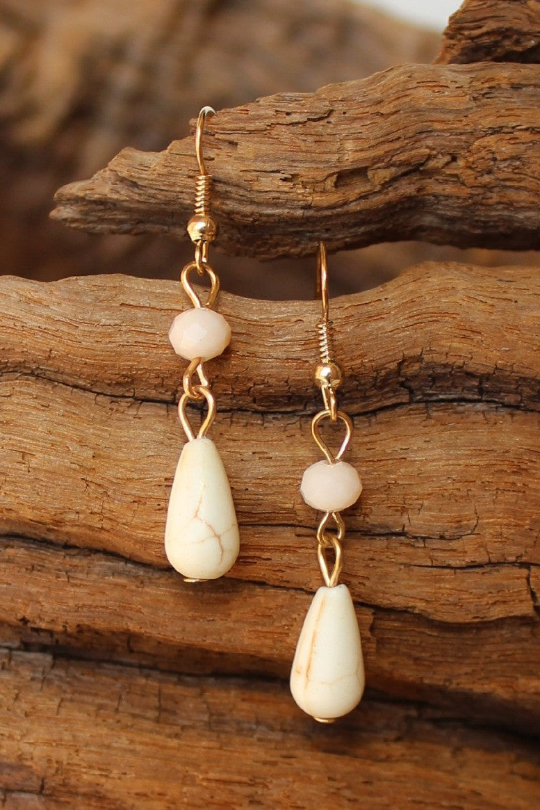 Teardrop Stone and Bead Earrings, Natural