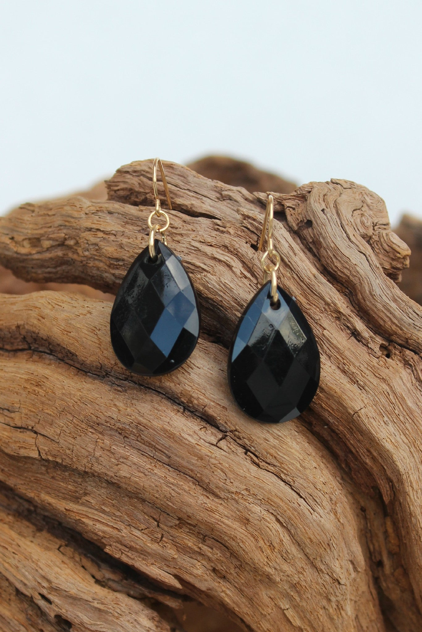 Faceted Teardrop Earrings, Black