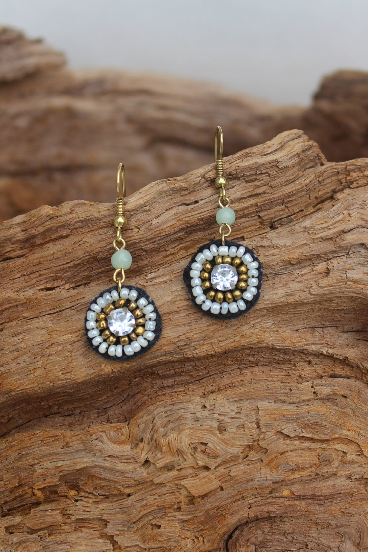 Circle Seed Bead Earrings, Multi