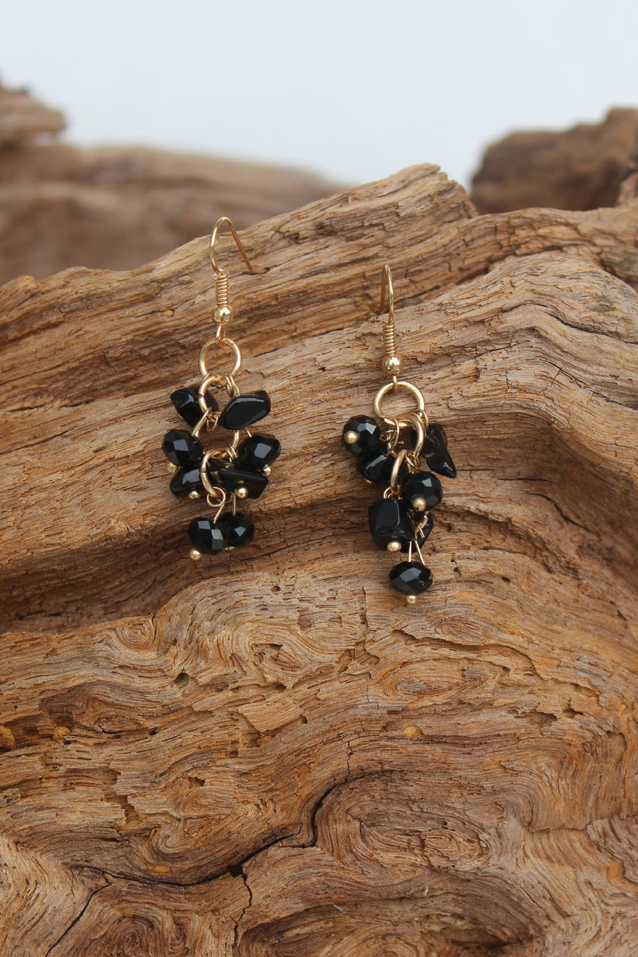 Stone Chip Earrings, Black