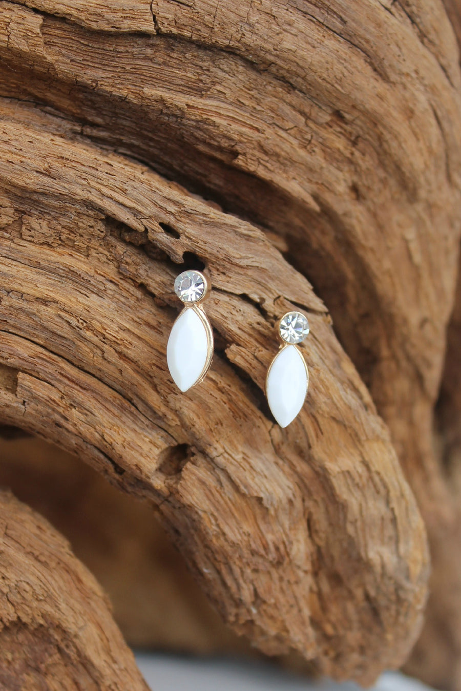 Crystal and Marquise Earrings, White