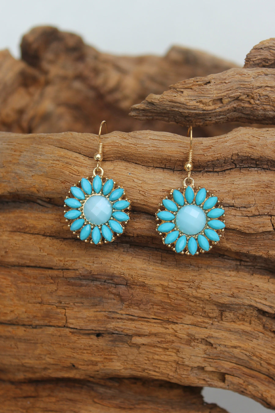 Daisy Earrings, Aqua