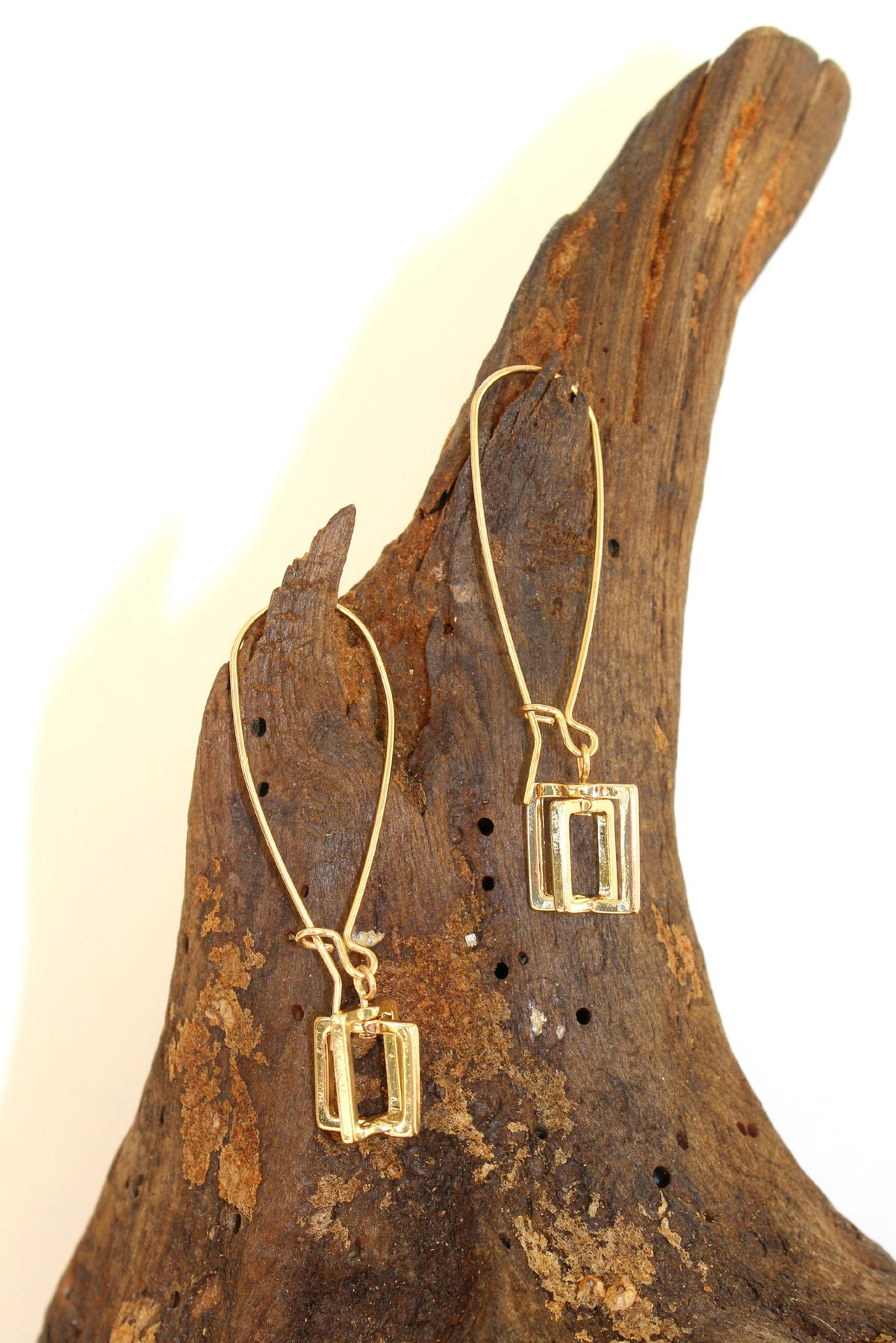 Double Square Earrings, Gold