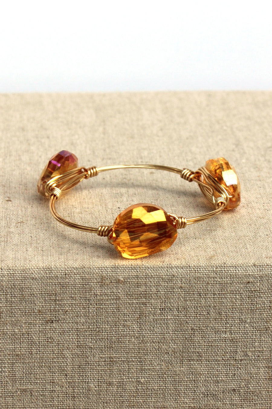 Fire Agate Bangle, Orange
