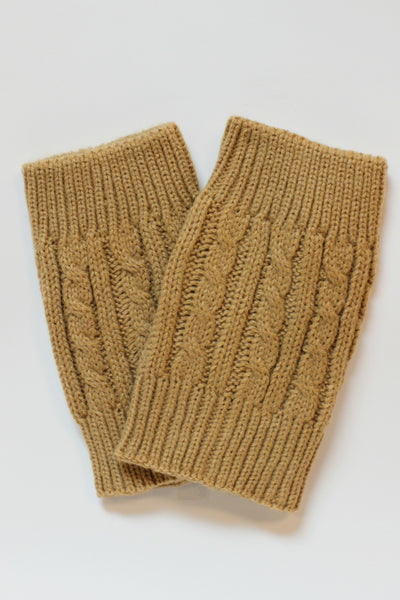 Cable Knit Boot Cuffs, Camel