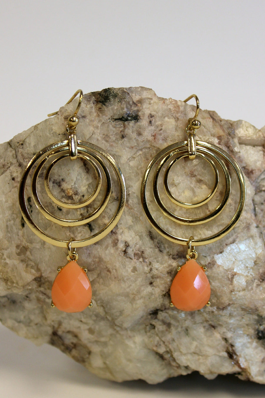 Triple Hoop Earrings, Orange