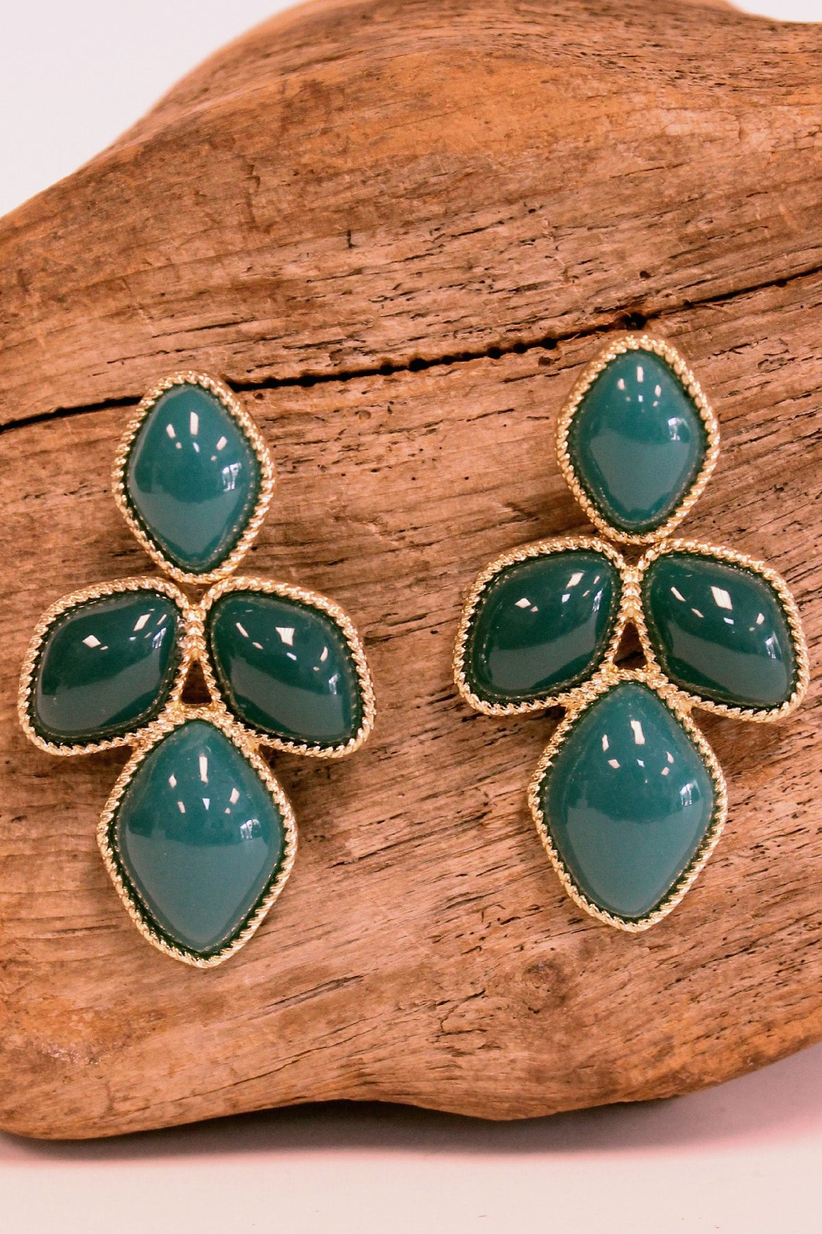 Dramatic Beaded Earrings, Teal