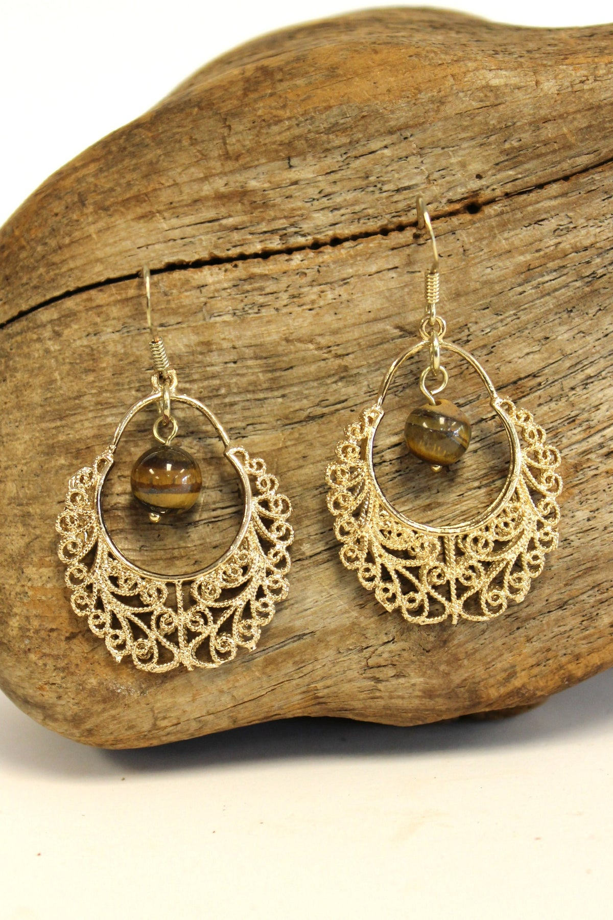 Filigree Earrings with Bead, Gold