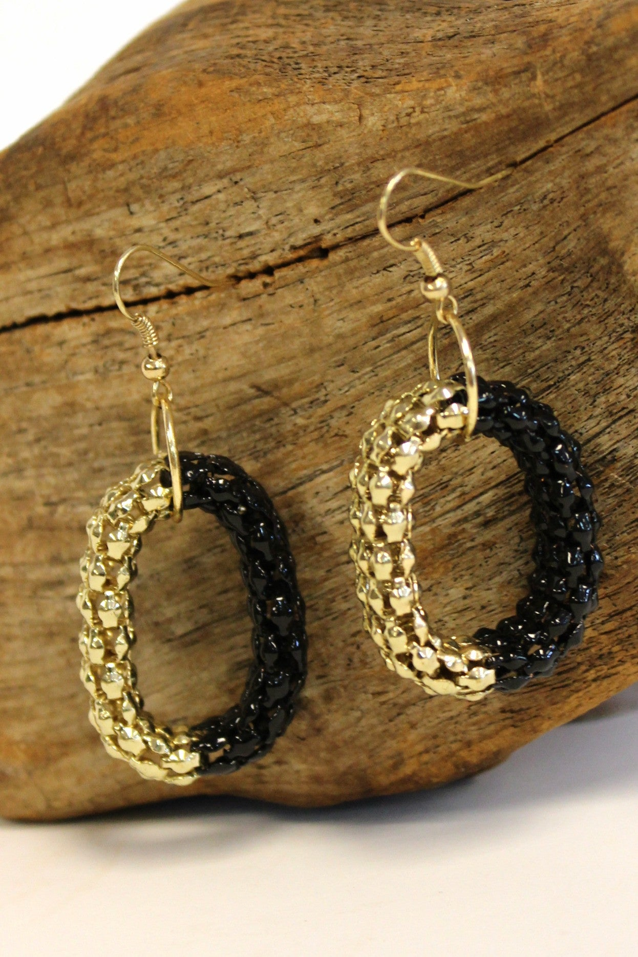 Oval Mesh Earrings, Black and Gold