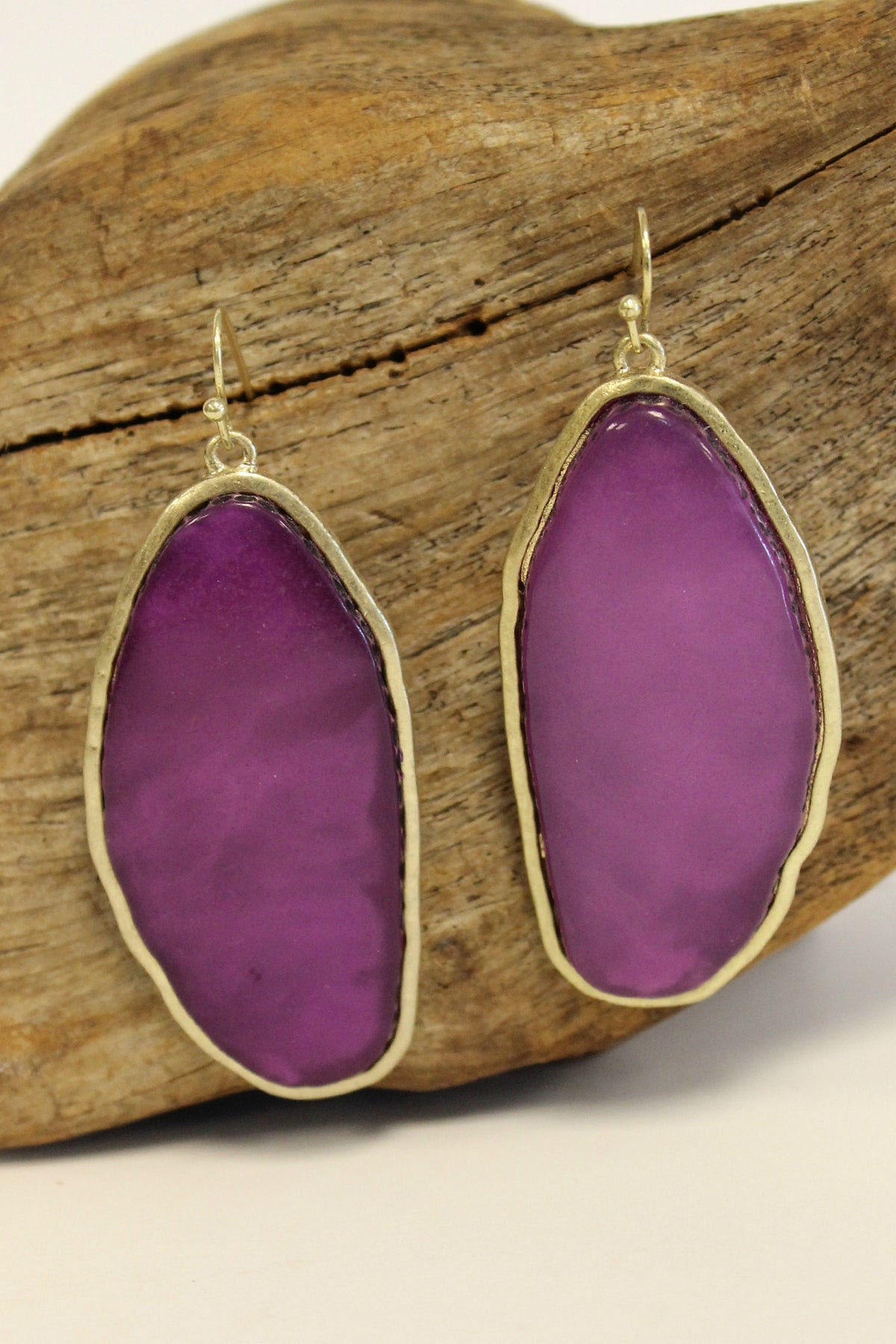 Elongated Disk Earrings, Purple