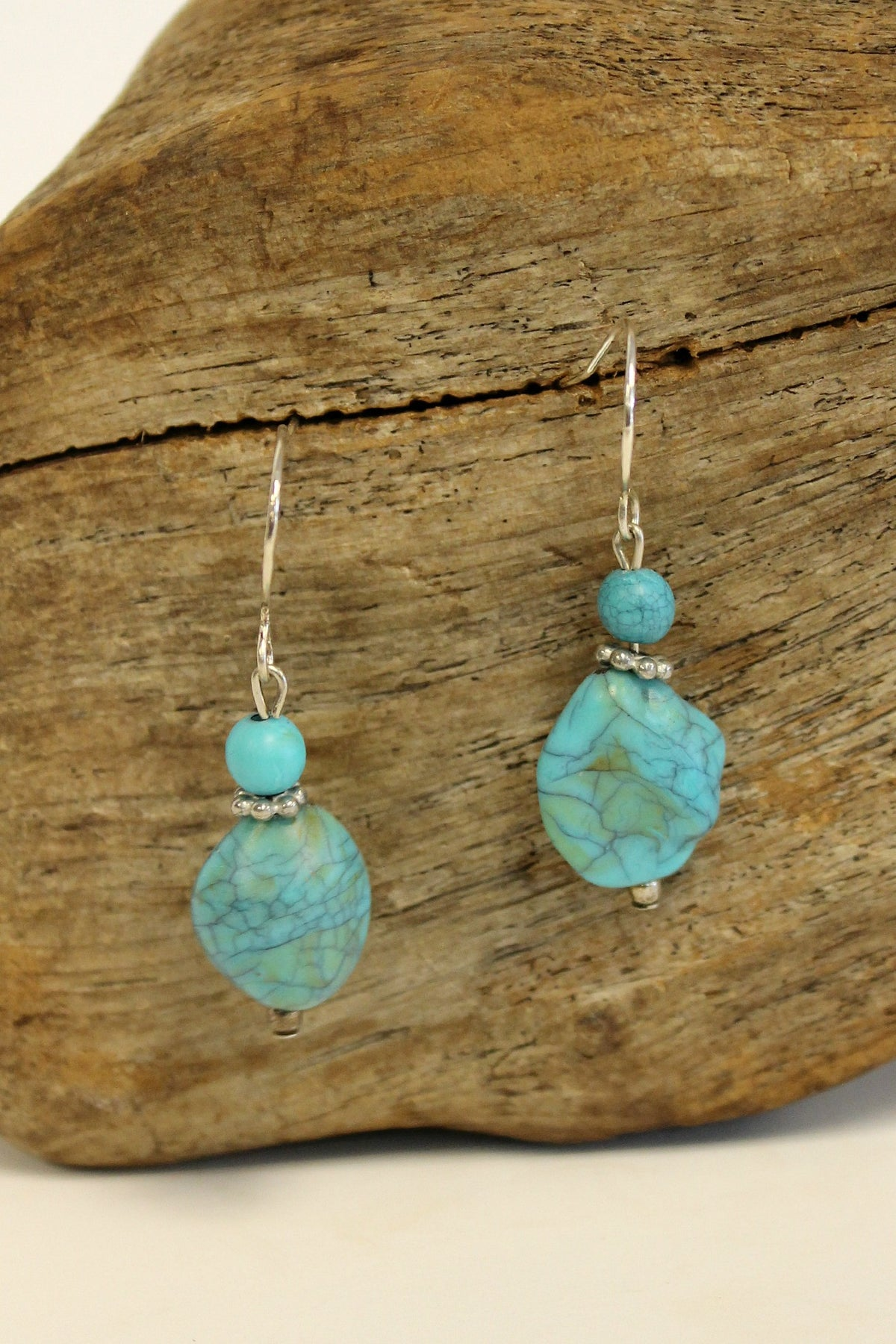 Nugget and Bead Earrings, Turquoise