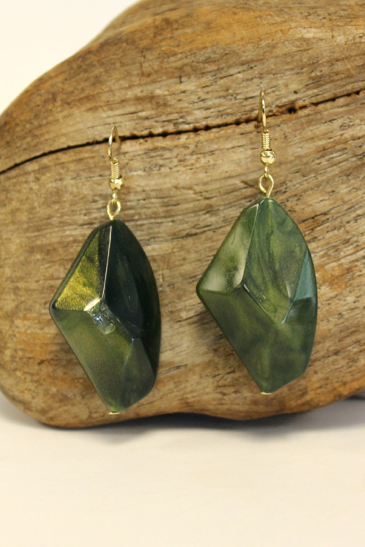Nugget Earrings, Olive