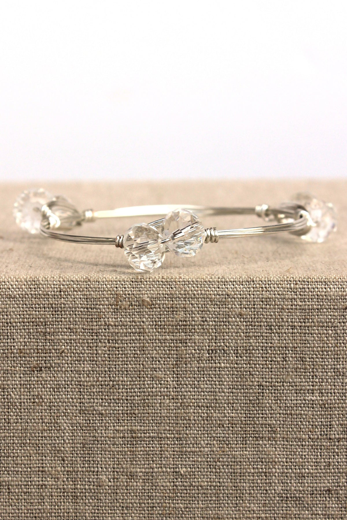 Crystal Clear Bangle, Silver