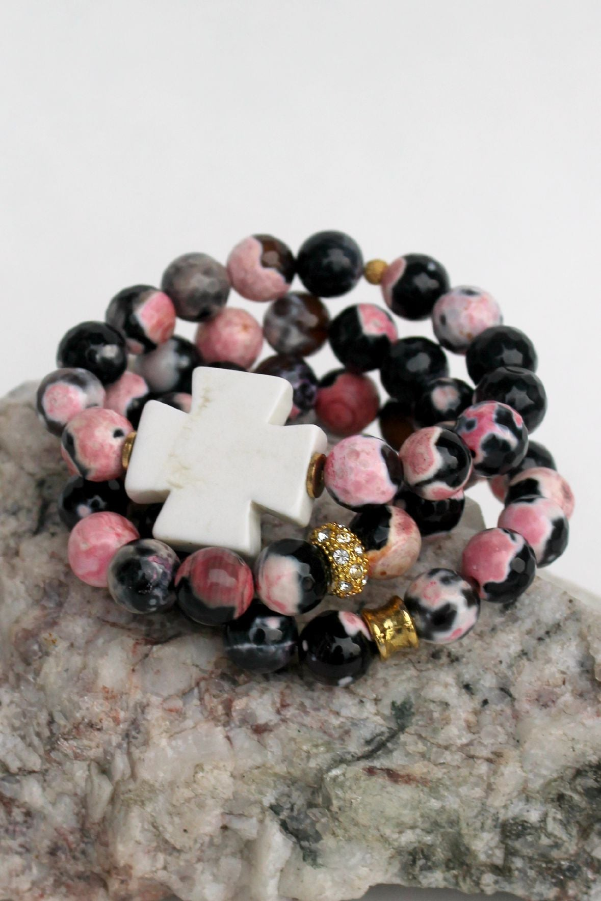 Swara Jewelry: Cross Bracelet, Pink/Black