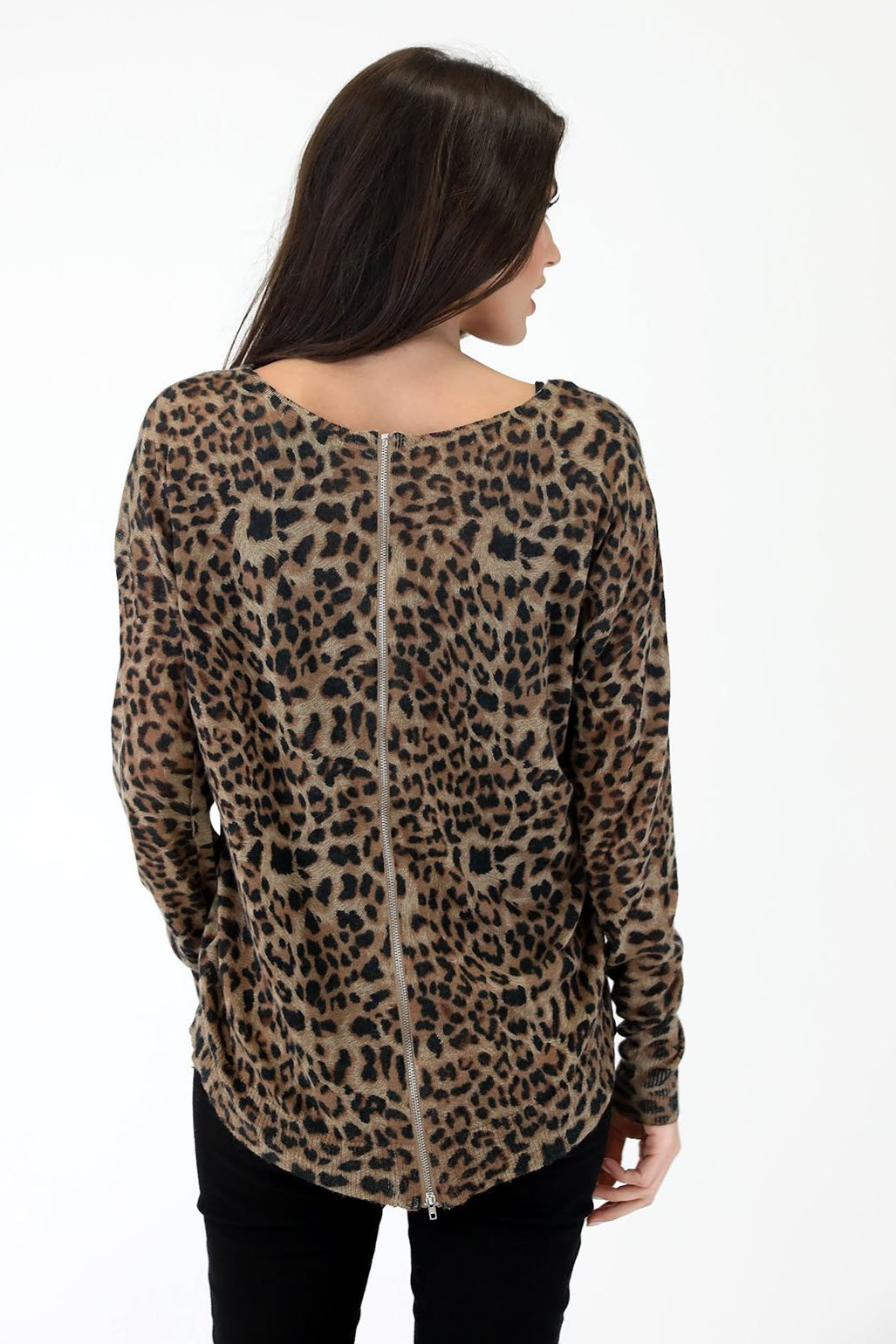 La La Leopard Sweater, Brown/Black