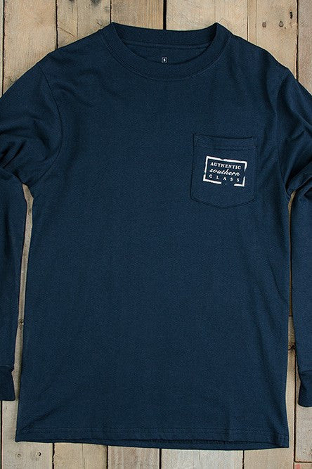 Southern Marsh: Collegiate Long Sleeve Tee, Navy