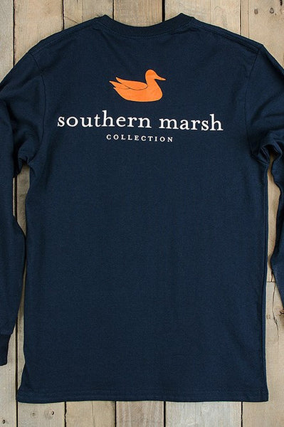 Southern marsh collegiate long sleeve tee navy elise for Southern marsh dress shirts on sale