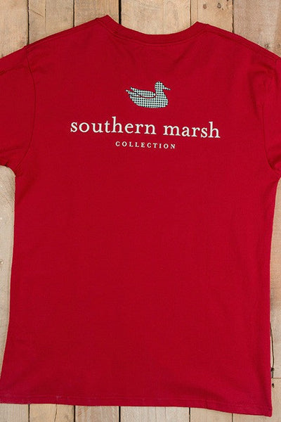 Southern Marsh: Authentic Collegiate Tee, Crimson (Houndstooth)