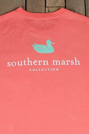 Southern Marsh: Authentic Long Sleeve Tee, Coral