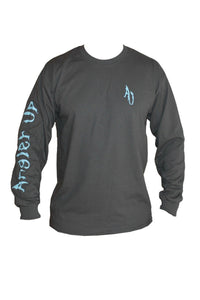 Angler Up: Men's Long Sleeve Tee, Gray/Blue