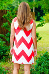 Shana Dress, Red/White Chevron