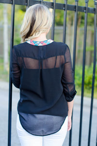 Katrina 3/4 Sleeve Top, Black