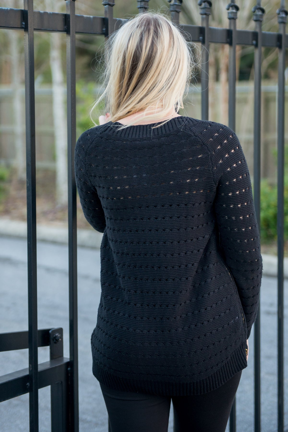 BCBGeneration: Lacey Knit Sweater, Black