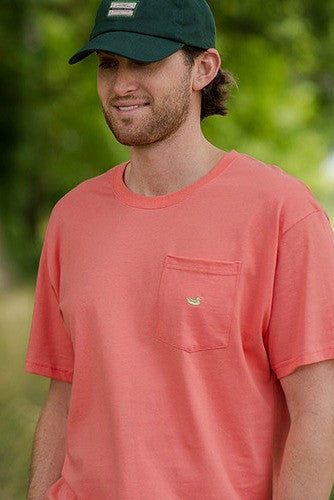 Southern Marsh: Embroidered Pocket Tee, Coral