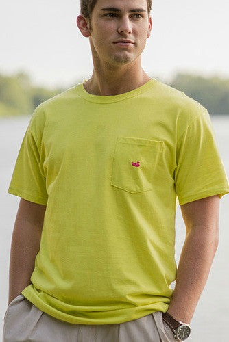 Southern Marsh: Embroidered Pocket Tee, Electric Lime