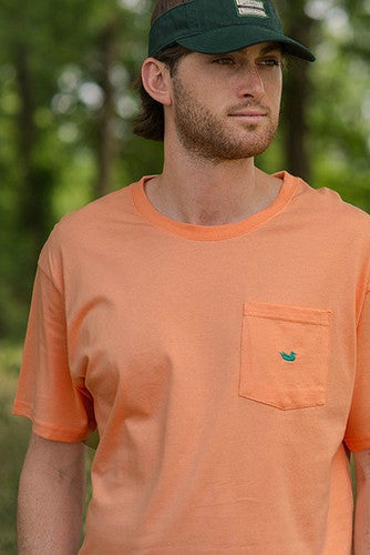 Southern Marsh: Embroidered Pocket Tee, Melon