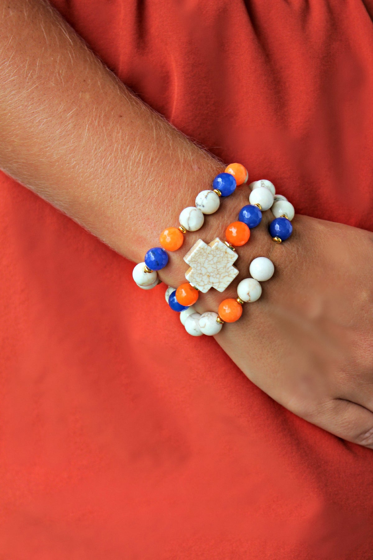 Swara Jewelry: Bracelet Set, Orange/Blue