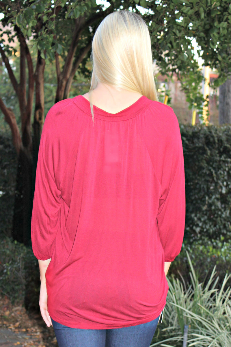 Kensie: Riley Top, Burgundy