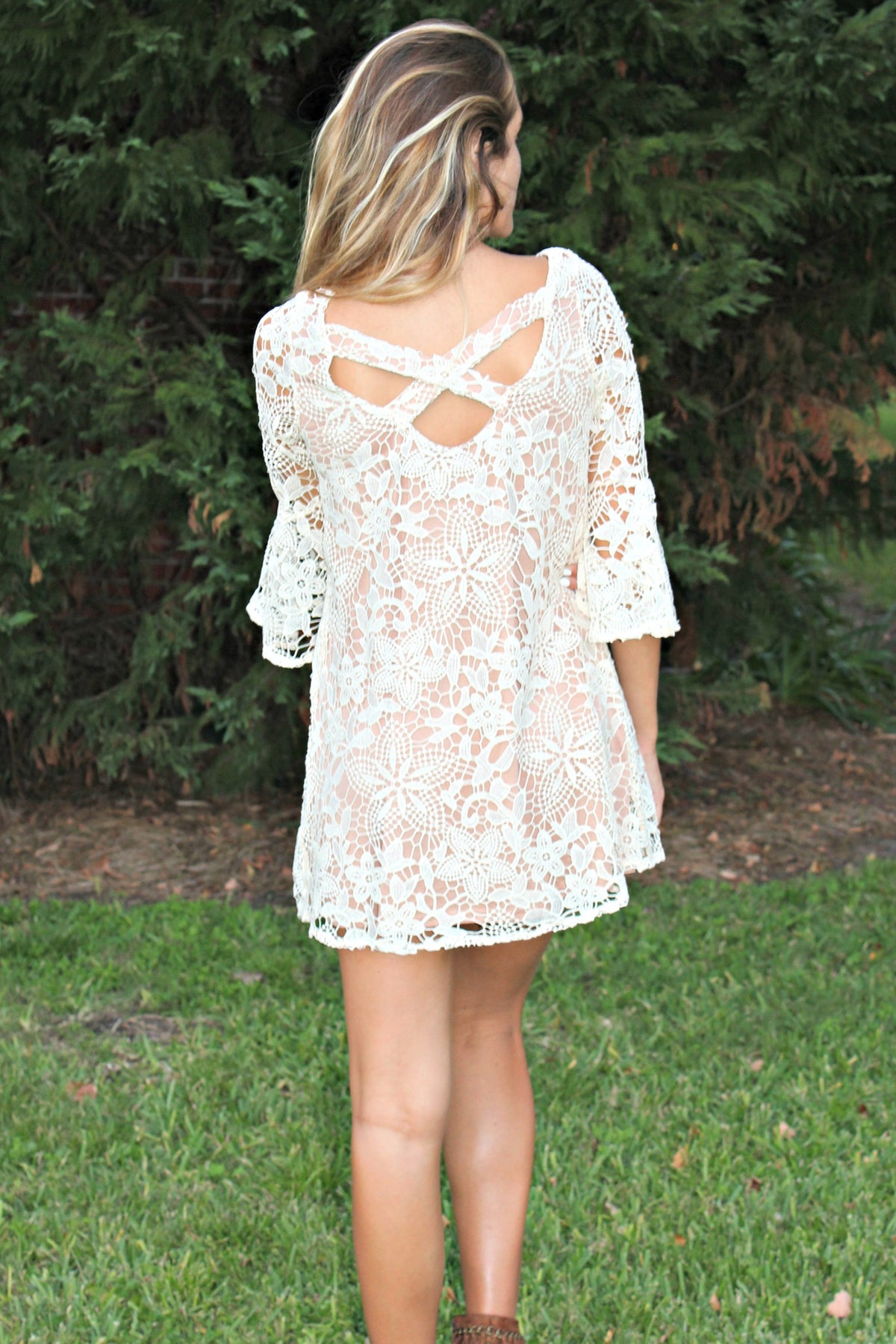 Judith March: Crochet Lace Dress, Cream