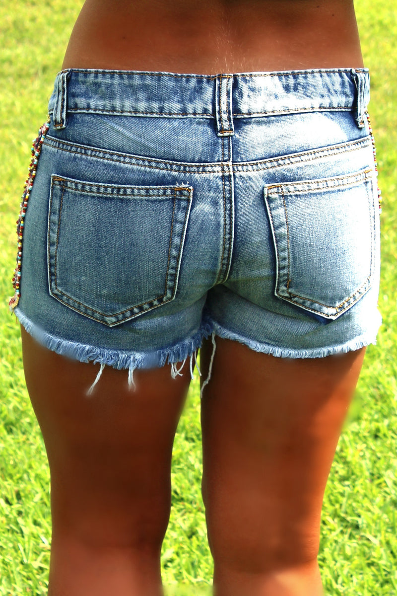 Willow Cut-off Shorts, Blue Denim