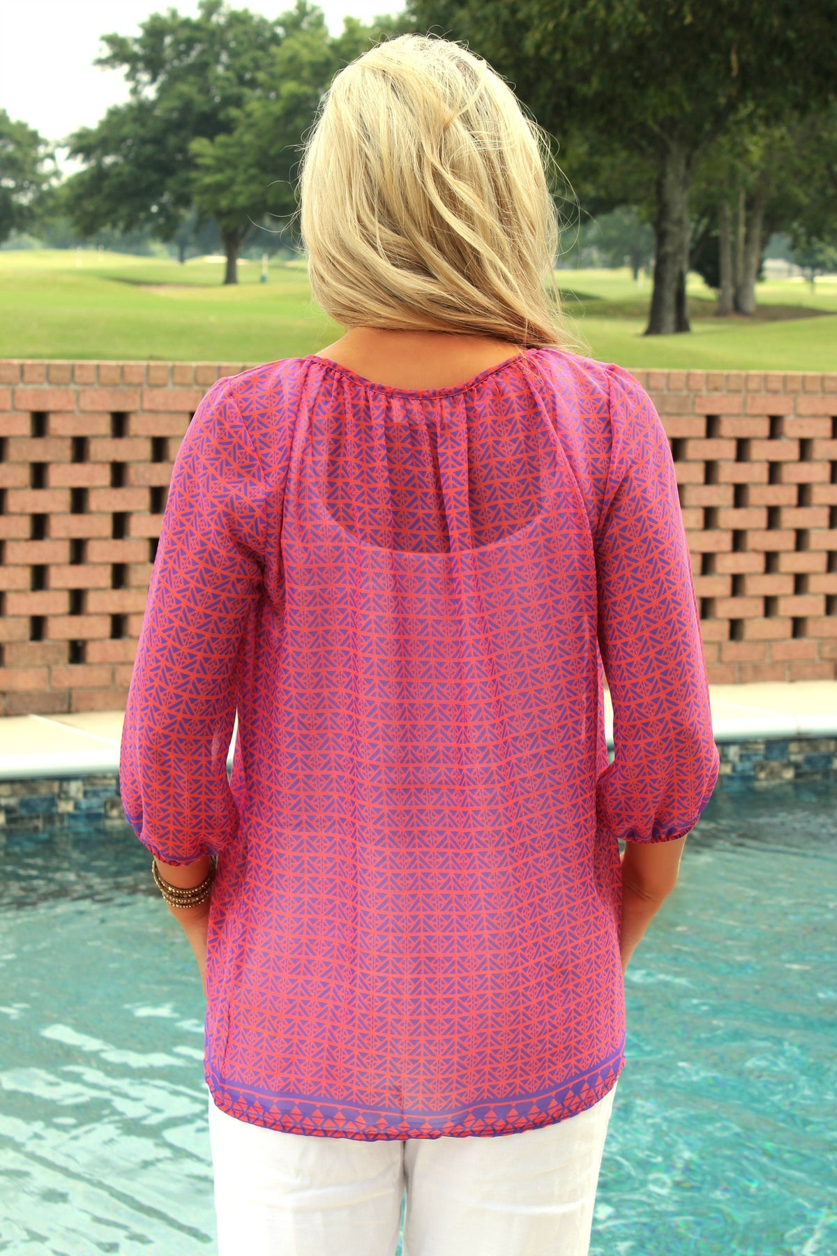 Everly: Mamie Blouse, Pink and Blue