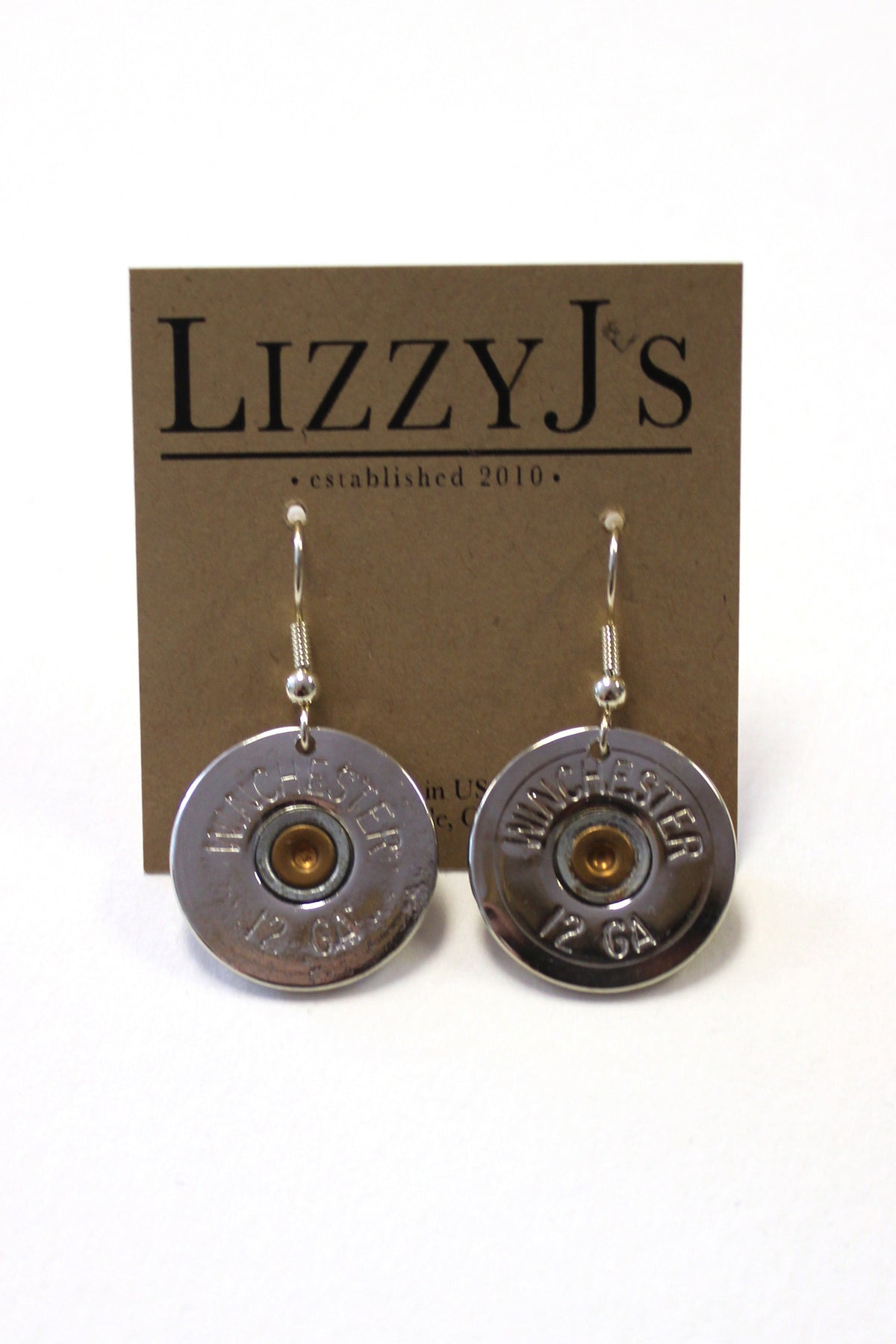 Lizzy J's: Shotgun Shell Earrings, Silver