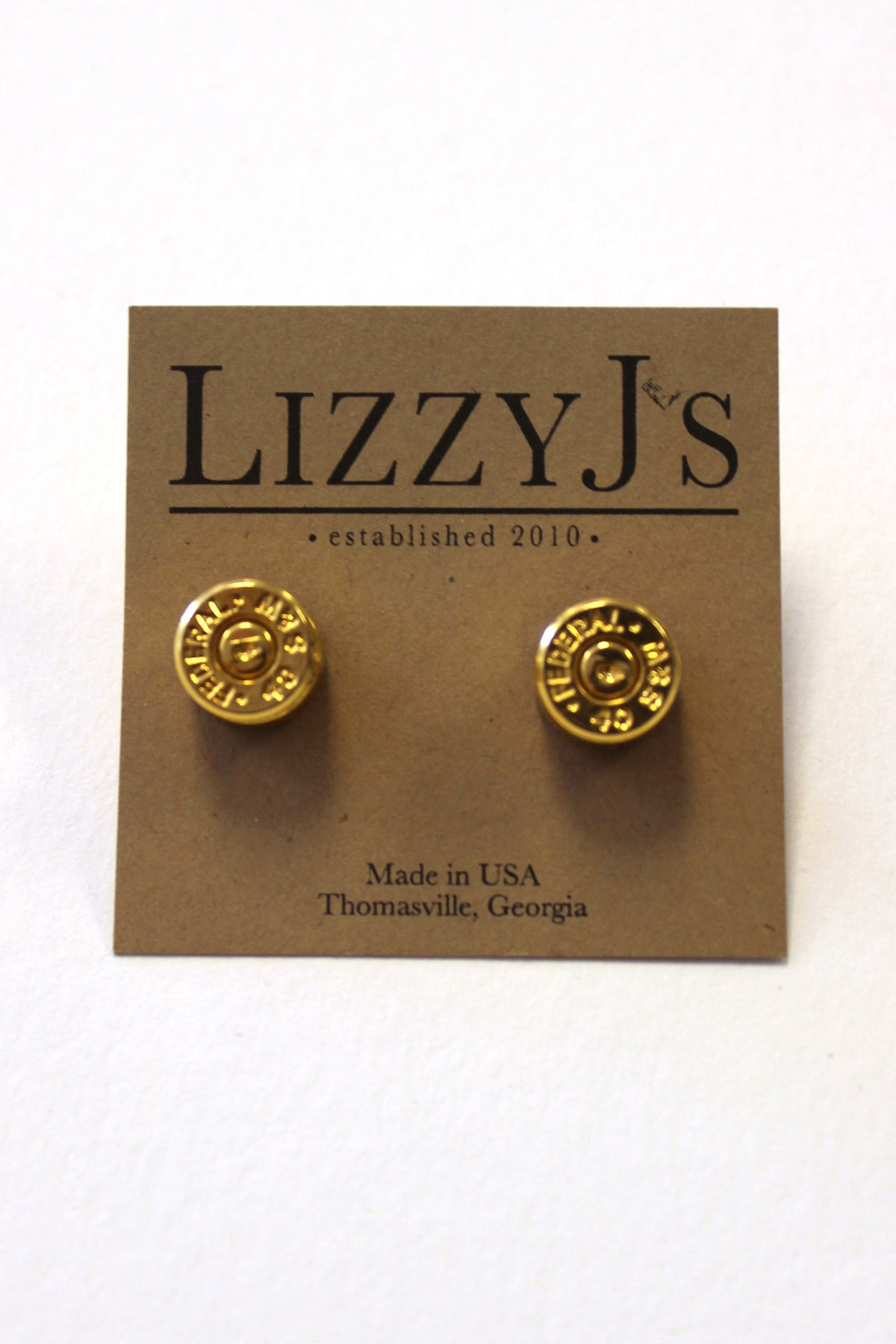 Lizzy J's Gold Bullet Earrings