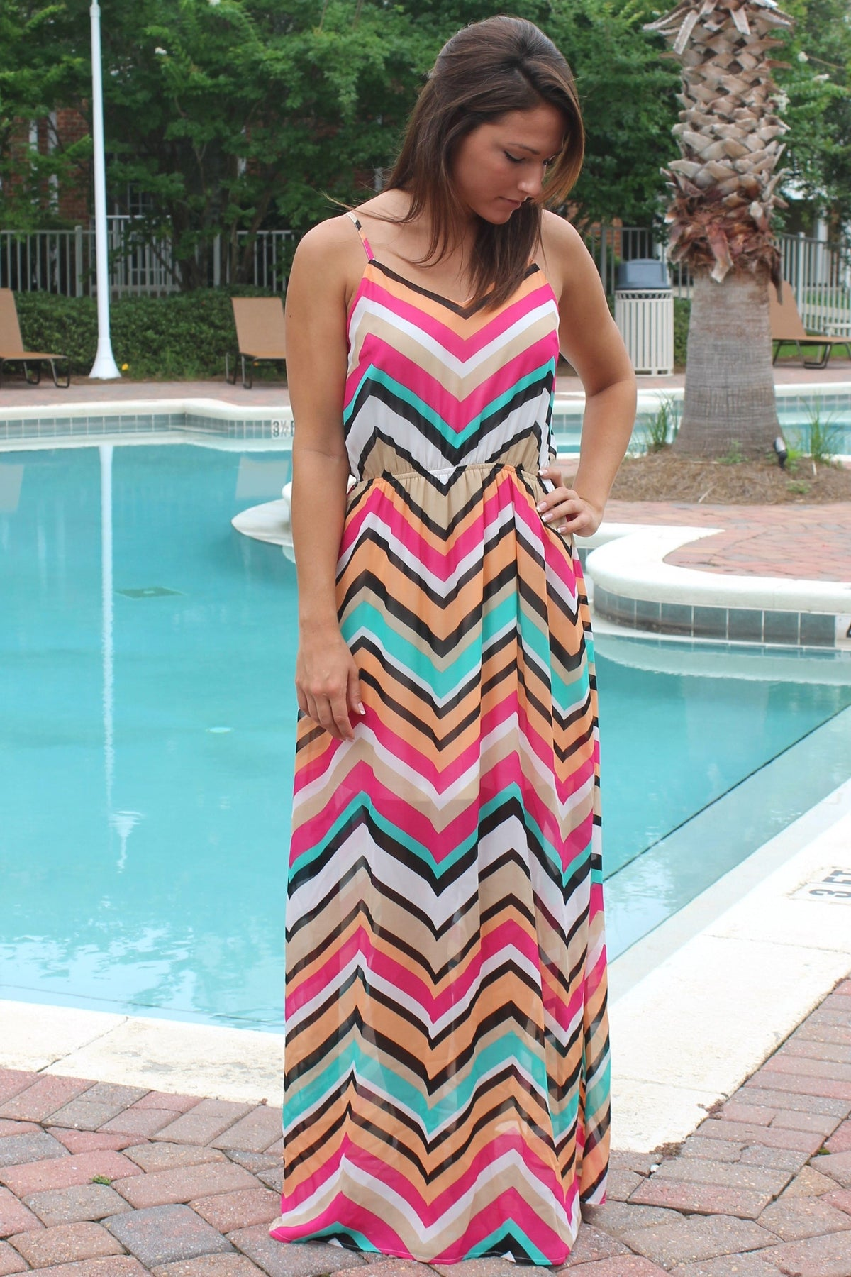 Kristi Maxi Dress, Chevron