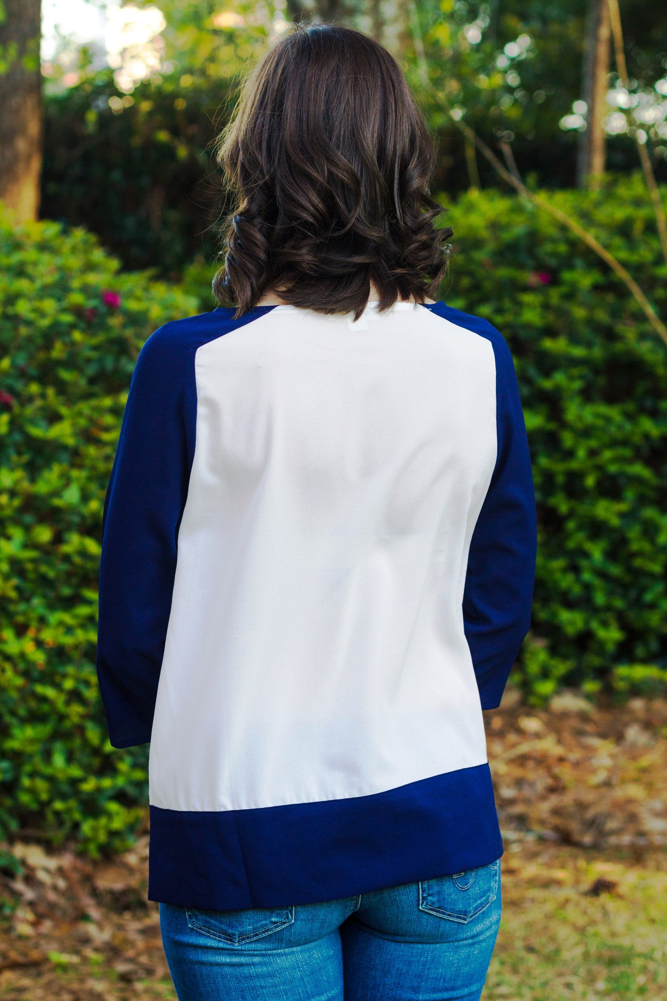 Donna Top, White/Navy